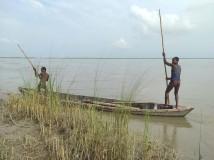 सप्तरीको भारदहस्थित सप्तकोशी नदीको बगरमा ढुङ्गाबाट दाउरा खोज्दै युवा । अरुण कुमार यादव/रासस